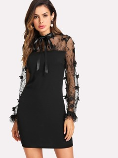 Ribbon Tie Neck Embroidered Mesh Sleeve Dress