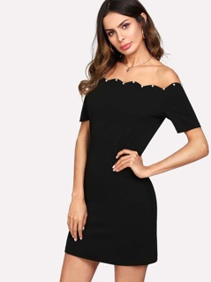 Pearl Beading Scallop Off Shoulder Dress