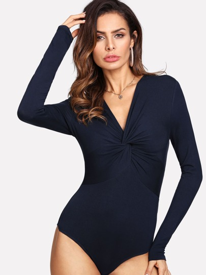 Twist Front Long Sleeve Bodysuit