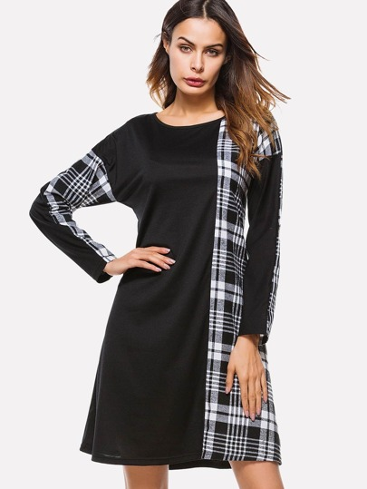 Contrast Tartan Plaid Tunic Dress