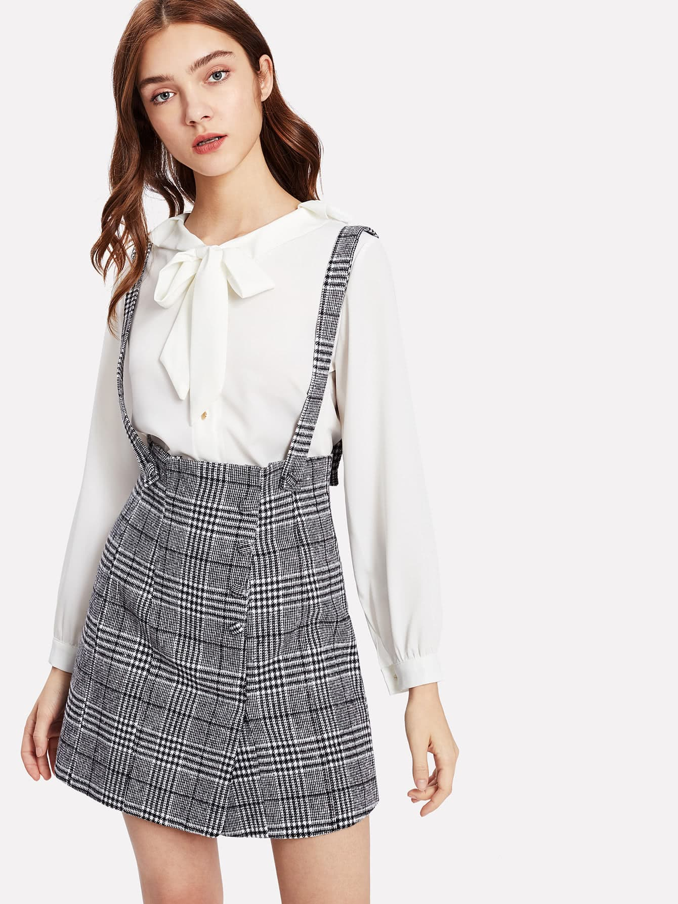 Wales Check Skirt With Detachable Straps split front wales check skirt