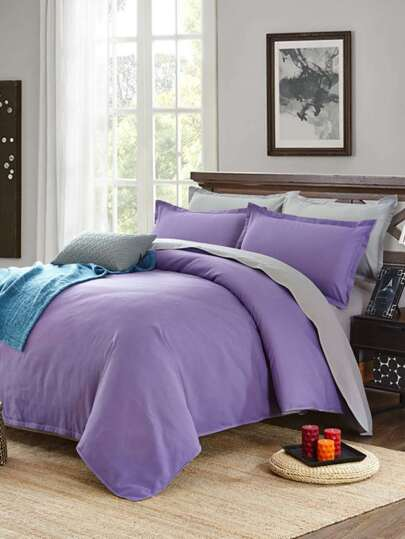 1.5m Two Tone Solid Pattern Bedding Set