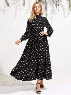 Tie Neck Allover Flamingo Print Shirt Dress