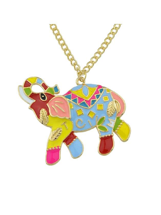 Dripping Glaze Mascot Elephant Necklace