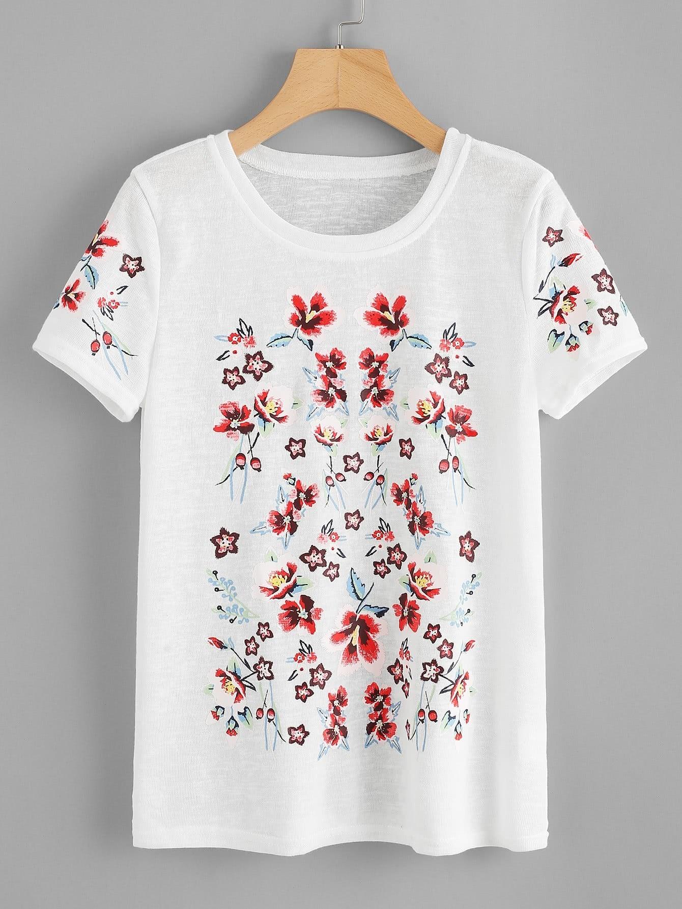 Flower Print Paper Thin T-shirt redfox футболка flower t 42 4300 желтый