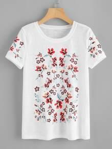 Flower Print Paper Thin T-shirt