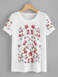 Flower Print Paper Thin T-shirt