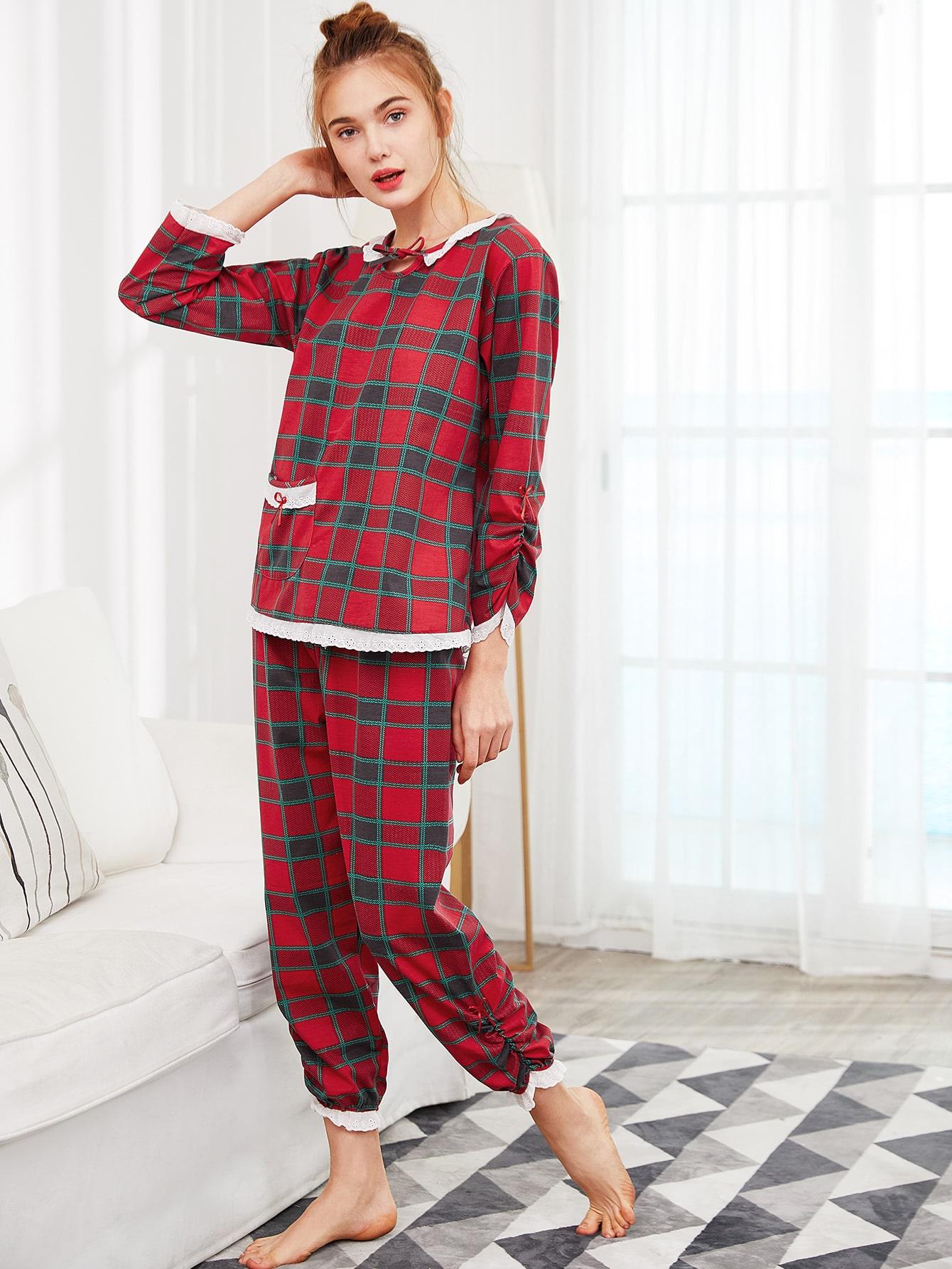 Contrast Lace Trim Plaid Top & Pants PJ Set contrast plaid tee