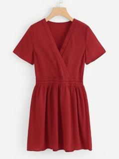 Overlap Front Lace Waist Dress