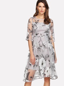 Floral Organza Overlay 2 In 1 Dress
