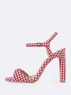 Gingham Print Ankle Strap Skinny Heels RED WHITE