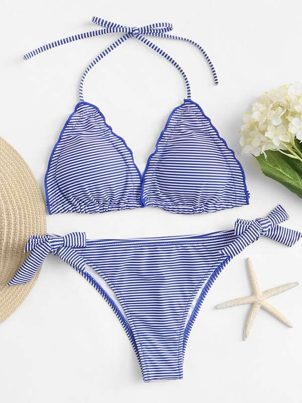 Striped Halter Top With Tie Side Bikini Set, null