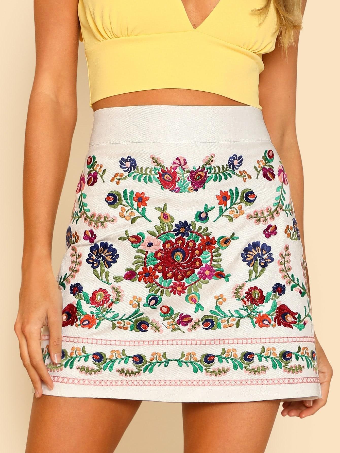 Embroidered Wide Waist Skirt цена 2017