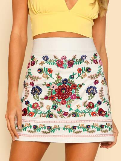 Flower Embroidered Skirt