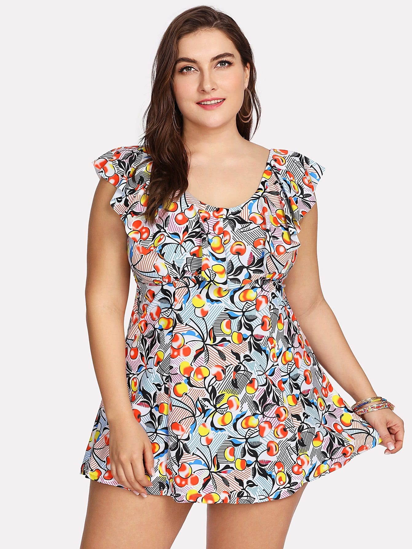 Fruit Print Flounce Swim Dress Set