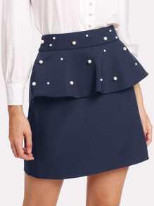 Pearl Beaded Flounce Skirt