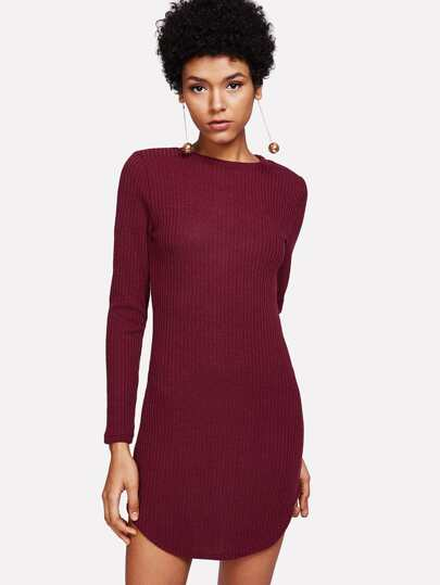 Curved Hem Ribbed Dress