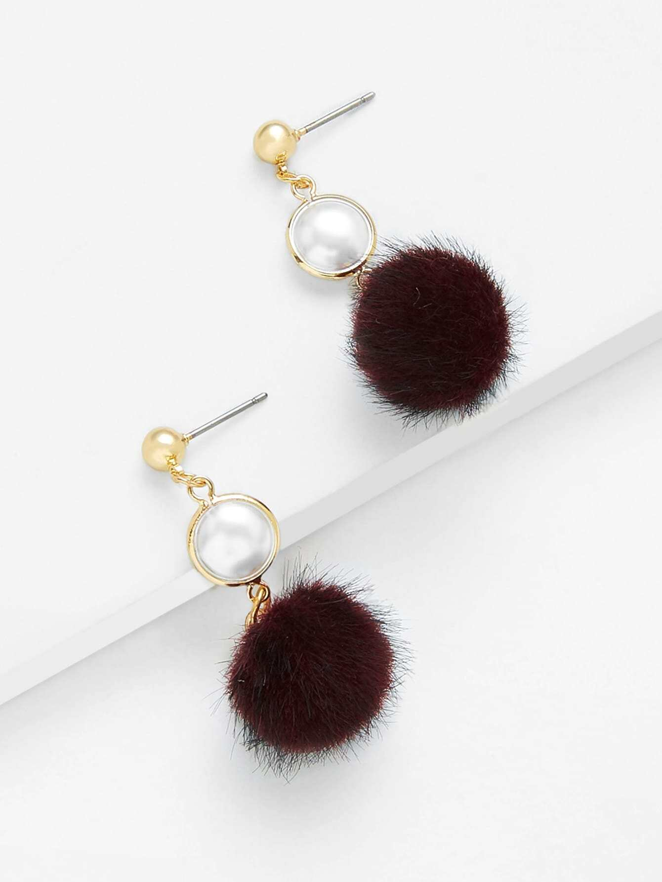 цены Faux Pearl Top Pom Pom Decorated Drop Earrings
