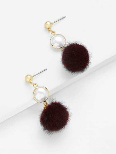 Faux Pearl Top Pom Pom Decorated Drop Earrings