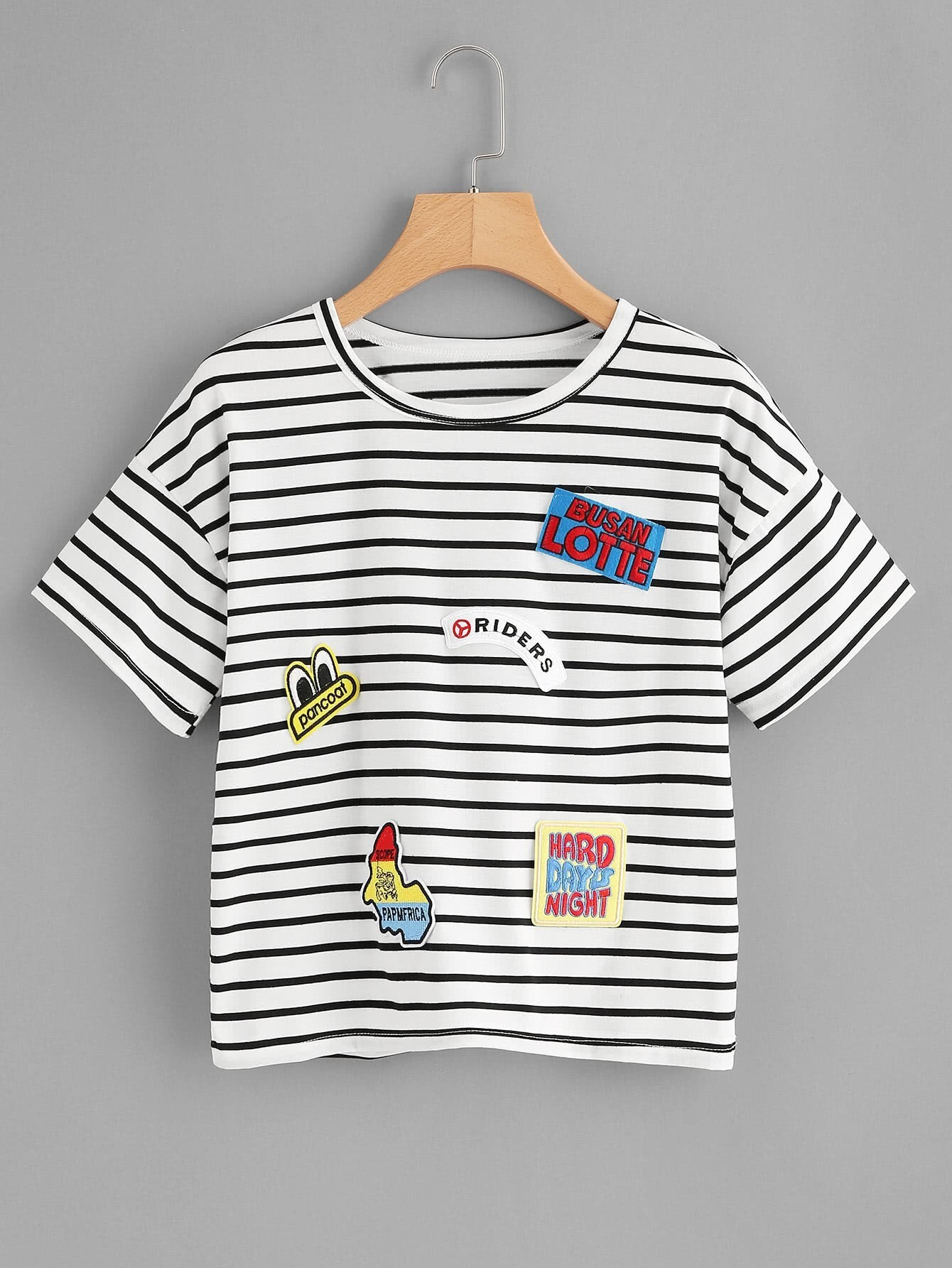 Horizon Striped Embroidered Patches Tee 10 pcs pineapple embroidered patches