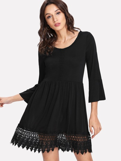 Contrast Guipure Lace Skater Dress