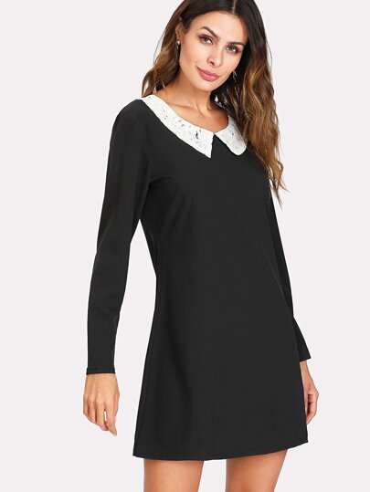 Contrast Lace Collar Dress