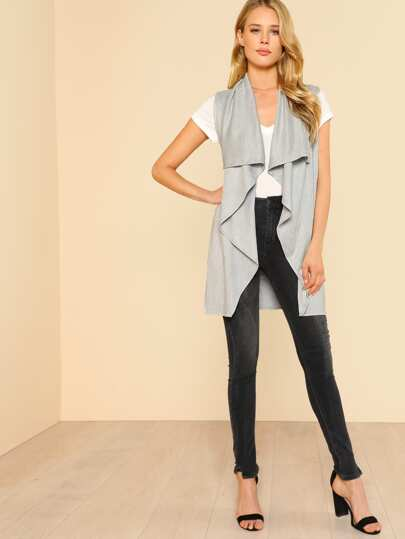 Waterfall Collar Open Front Vest