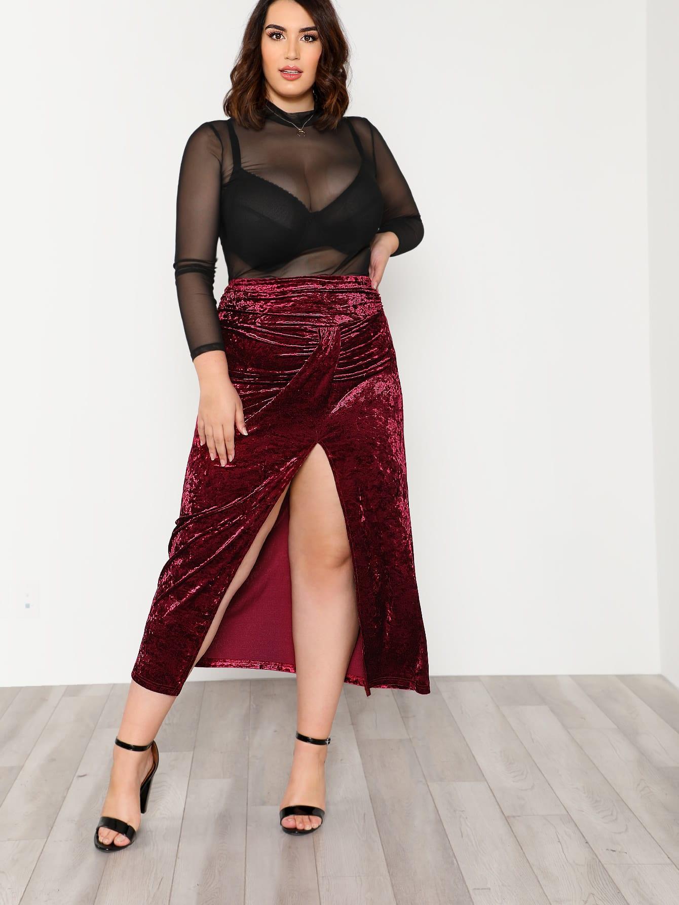High Slit Front Ruched Detail Velvet Skirt overlap front m slit velvet dress
