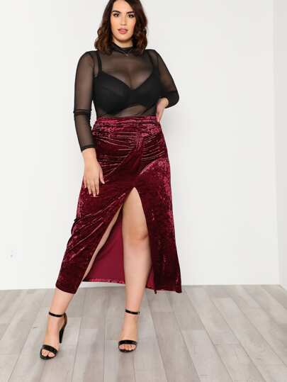 High Slit Front Ruched Detail Velvet Skirt