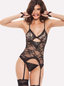 Lace and Mesh Garter Chemise Set