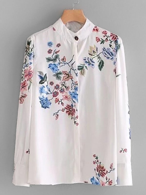 цены Band Collar Floral Blouse