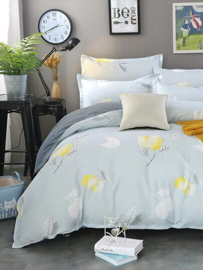 2.0m 4Pcs Lemon Print Duvet Cover Set