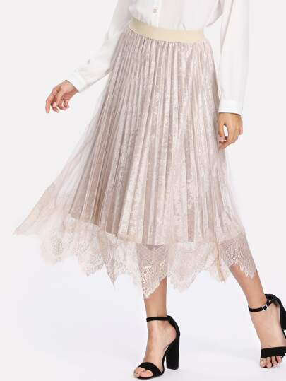 Pleated Crushed Velvet Mesh Overlay Skirt