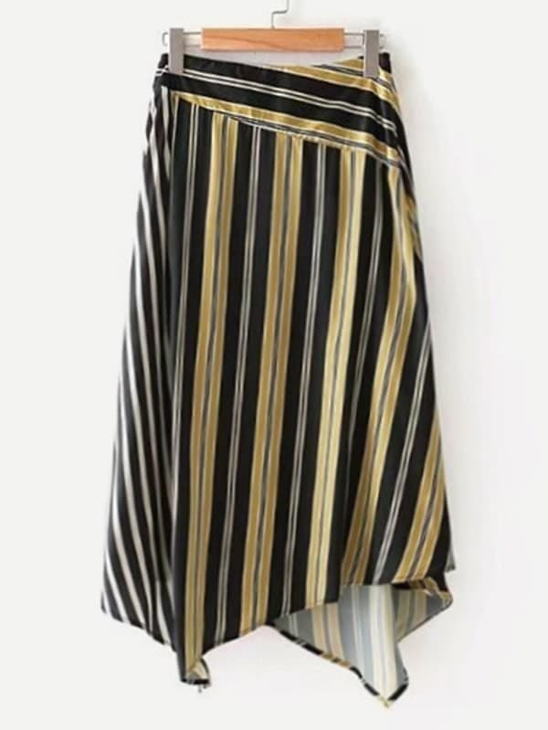 Image of Asymmetrical Striped Skirt