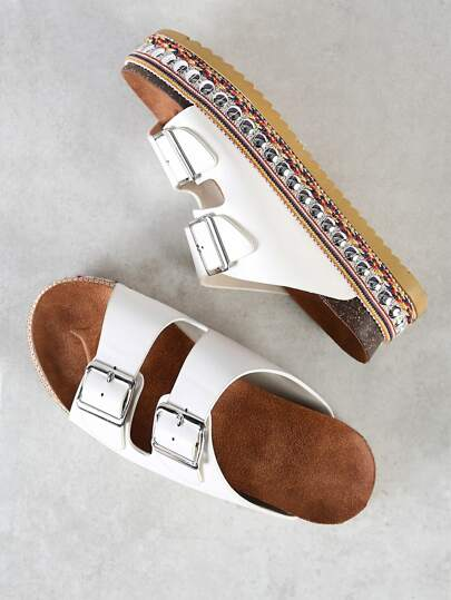 Studded Flatform Dual Buckle Sandals WHITE