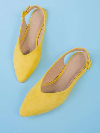 Faux Suede Pointy Flat with Ankle Strap YELLOW