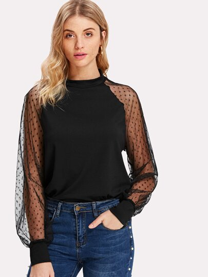 Polka Dot Mesh Bishop Sleeve Top