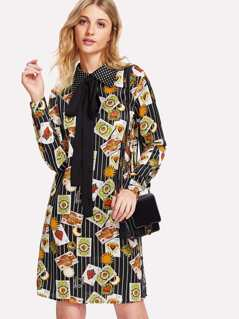 Contrast Dot Collar Mixed Print Dress