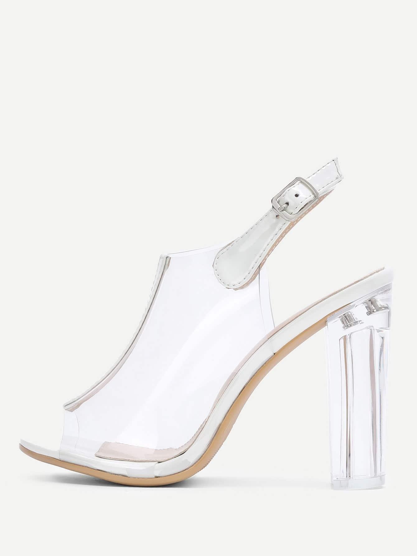 Peep Toe Clear Design Block Heeled Pumps rhinestone design block heeled pumps