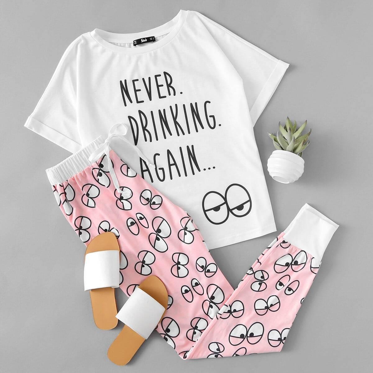 Pyjama set met print