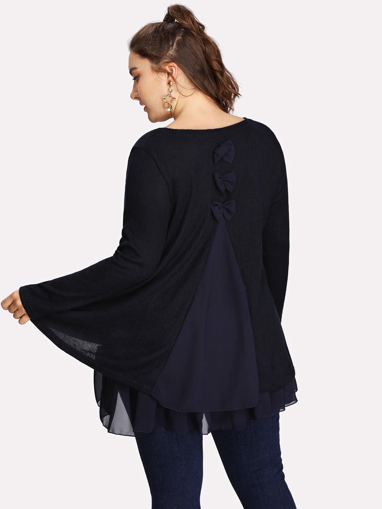 Купить Модная футболка с оборкой и бантами, Franziska, SheIn