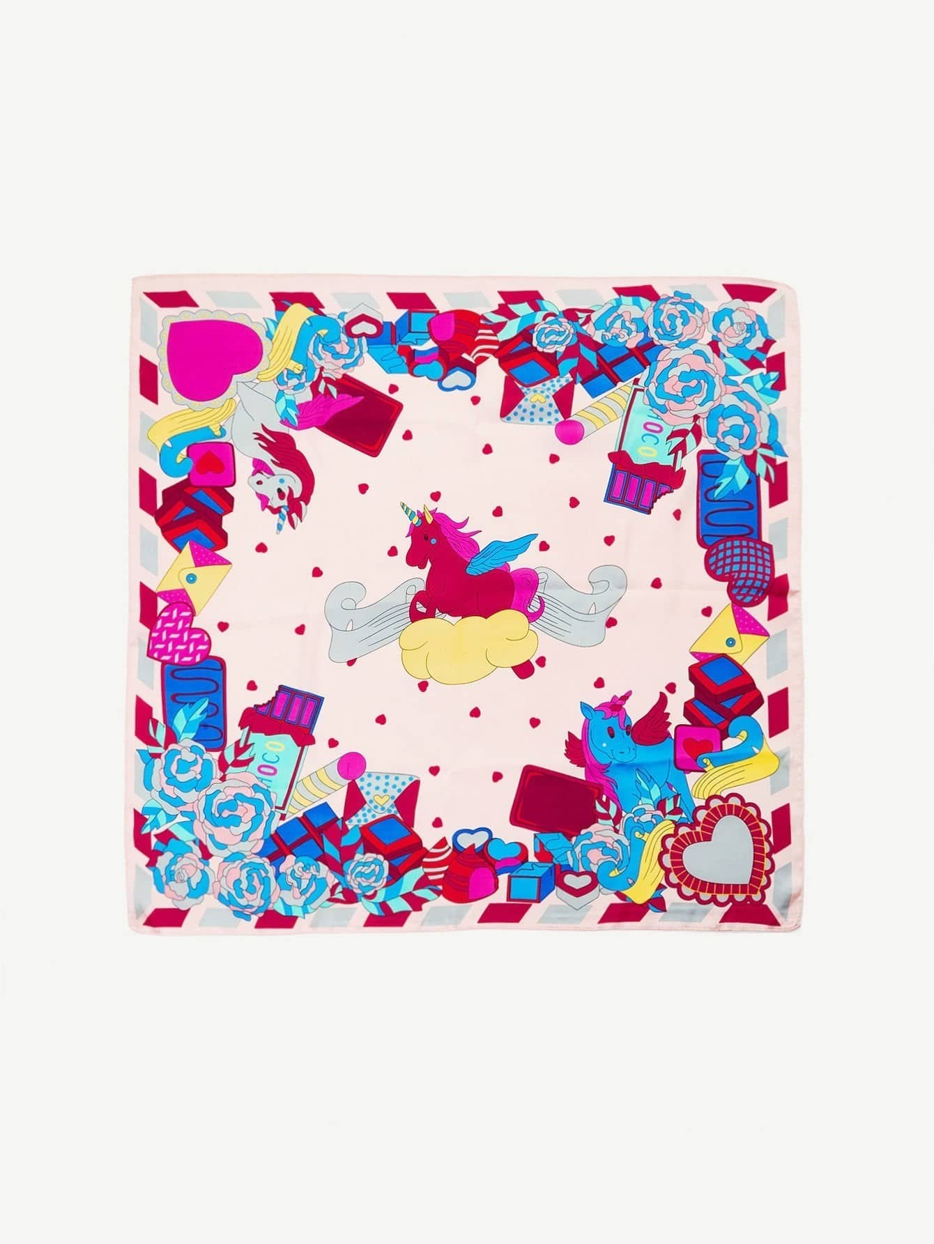 Animal & Flower Print Bandana calico print satin bandana