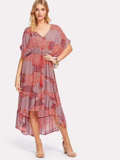 V Neck Ruffle Hem Dolman Dress