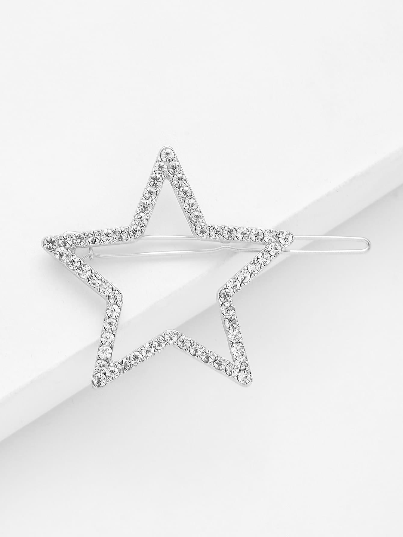 Star Shaped Rhinestone Hair Clip все цены