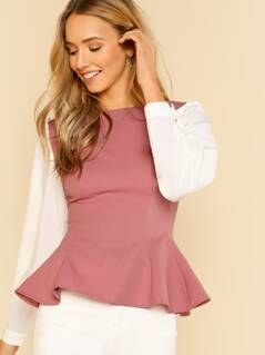 Contrast Frilled Sleeve Peplum Top