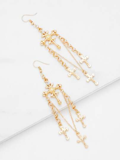 Cross Design Long Drop Earrings