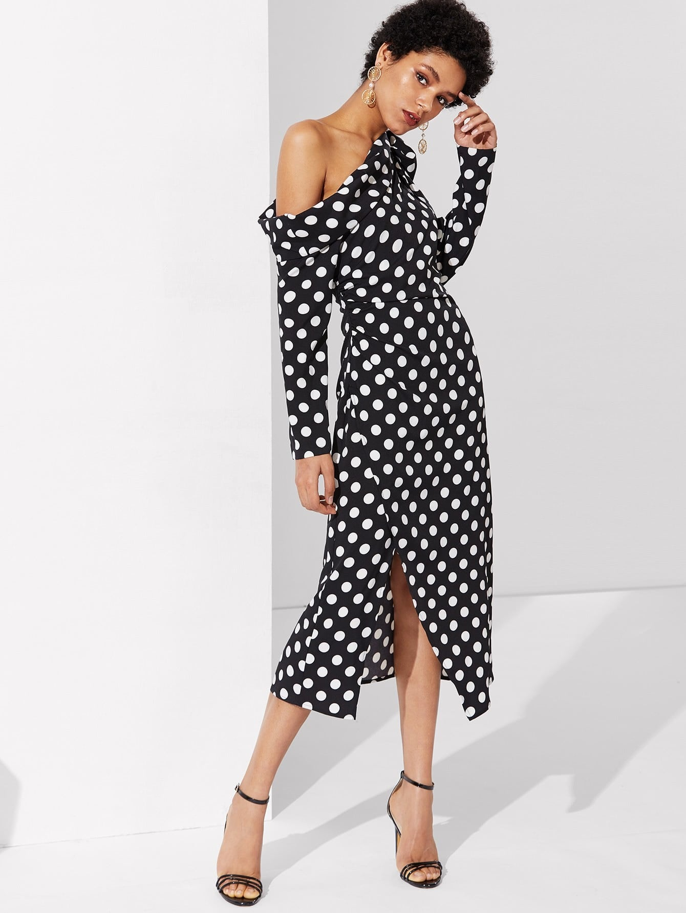 Купить Модное платье в горошек на одно плечо, Ana, SheIn