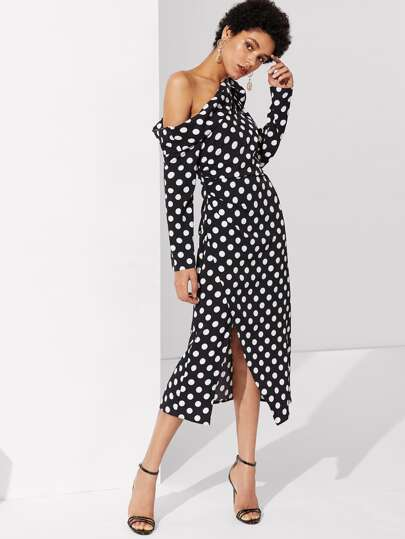 Foldover Knot Asymmetric Shoulder Polka Dot Dress