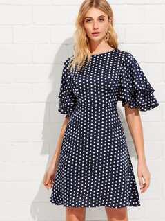 Layered Flutter Sleeve Split Back Polka Dot Dress
