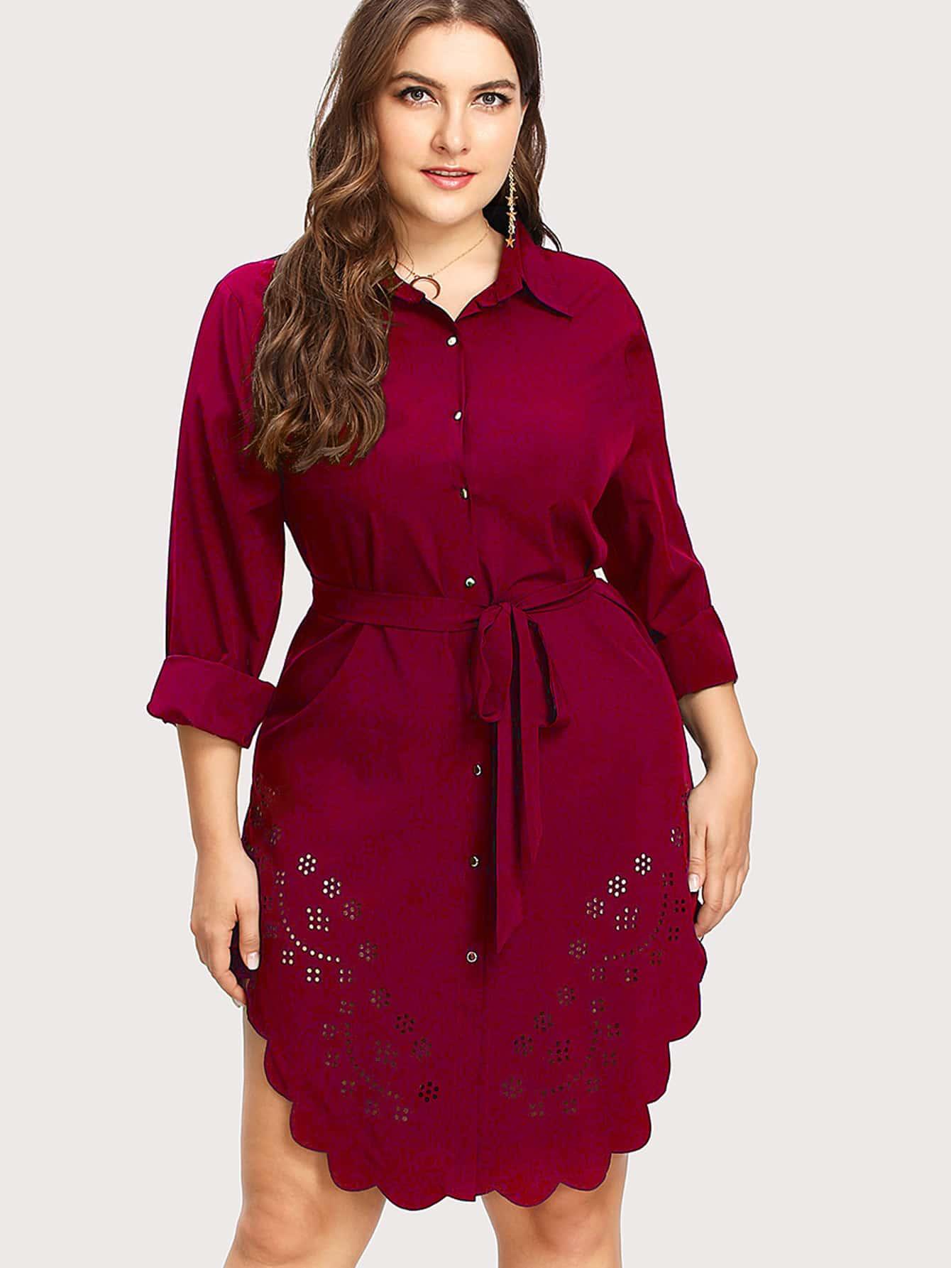 Laser Cut Out Scallop Hem Shirt Dress scallop laser cut form fitting dress